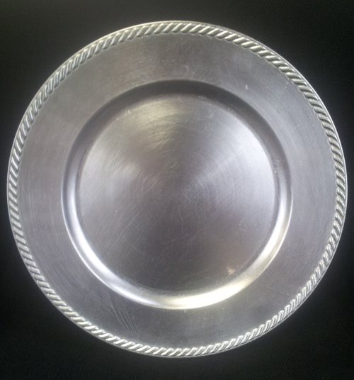 Round Silver Charger with Rim