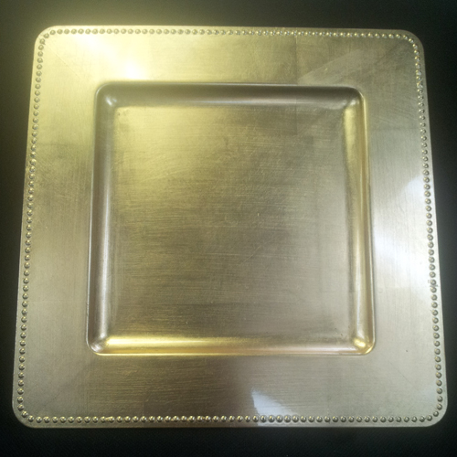 Square Gold Charger with Rim