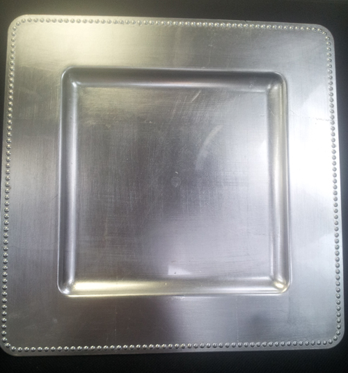 Square Silver Charger with Rim