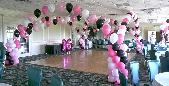 Party Rental Miami, Balloon Decorations,Quinces, Black & Pink